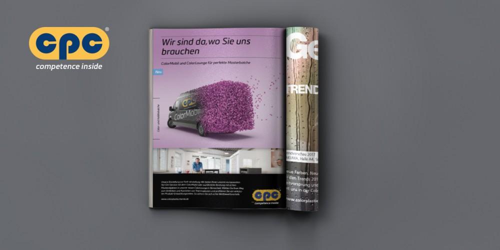 Im neuen Coprorate-Design: Anzeige cpc ColorMobil, ColorLounge, Trendfarben