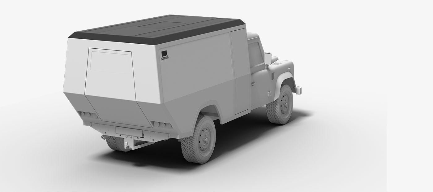 Projekt basecab Visualisierung einer Leerkabine für Land Rover Defender als 3D-Rendering